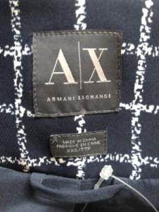 アルマーニエクスチェンジ ARMANIEX ジャケット サイズxxs XS レディース ネイビー×白 チェック柄/肩パッド【中古】