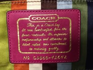 コーチ COACH ハンドバッグ レディース シグネチャー柄 41642 カーキ×ボルドー ジャガード×エナメル(レザー)【中古】