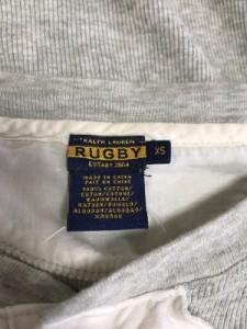 ラルフローレンラグビー Ralph Lauren Rugby 長袖ポロシャツ レディース グレー×白 フリル【中古】