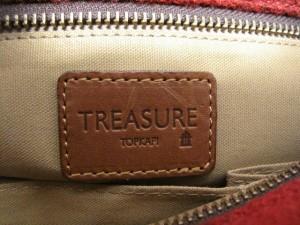 トレジャートプカピ TREASURE TOPKAPI ハンドバッグ レディース レッド×ブルー×ブラウン チェック柄 ウール×レザー×ハラコ【中古】