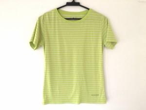 モンベル mont-bell 半袖Tシャツ レディース 美品 ライトグリーン×アイボリー ボーダー【中古】