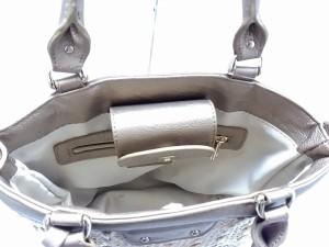 アンタイトル UNTITLED トートバッグ レディース 美品 ベージュ×ゴールド ラメ 天然繊維×化学繊維×合皮【中古】