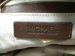 マイケルコース MICHAEL KORS ポーチ レディース 黒×アイボリー×ダークブラウン コーティングキャンバス×レザー【中古】