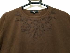 ダックス DAKS 半袖セーター レディース ダークブラウン 刺繍/フラワー/ニット【中古】