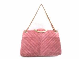 アルカン ARUKAN ハンドバッグ レディース ピンク×ゴールド スエード×金属素材【中古】