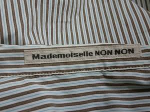 マドモアゼルノンノン Mademoiselle NON NON 長袖シャツブラウス レディース ライトブルー×ブラウン ストライプ【中古】