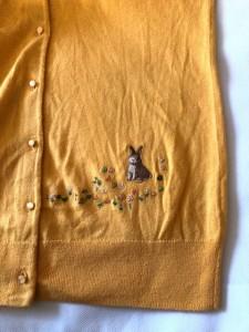 フランシュリッペ franchelippee カーディガン サイズM レディース イエロー×マルチ 刺繍【中古】
