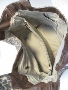 エルエスシーン トートバッグ レディース グレージュ×ダークグレー×マルチ 豹柄 PVC(塩化ビニール)×エナメル(合皮)【中古】