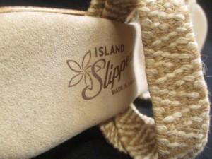 アイランドスリッパ ISLAND SLIPPER サンダル 8 レディース 美品 ベージュ×白 ウェッジソール 化学繊維×麻【中古】