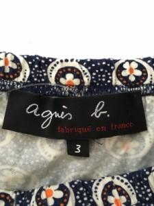 アニエスベー agnes b スカート サイズ3 L レディース ダークネイビー×白×マルチ ドット柄/花柄【中古】