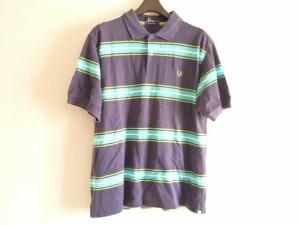 フレッドペリー FRED PERRY 半袖ポロシャツ サイズM メンズ ダークネイビー×ライトブルー×ライトグリーン ボーダー【中古】