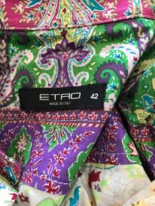 エトロ ETRO ワンピース サイズ42 M レディース 美品 アイボリー×パープル×マルチ シャツワンピ【中古】