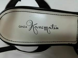 ギンザカネマツ GINZA Kanematsu サンダル 23 レディース 白×黒 オープントゥ レザー【中古】