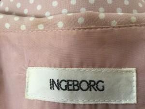 インゲボルグ INGEBORG ワンピース レディース ピンク×白 ドット柄/フェイクパール/肩パッド【中古】