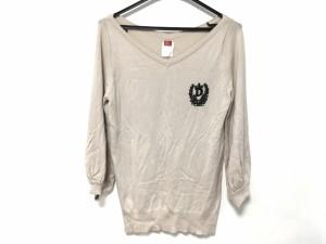 ダブルスタンダードクロージング DOUBLE STANDARD CLOTHING 長袖セーター レディース ベージュ×黒 ビーズ【中古】