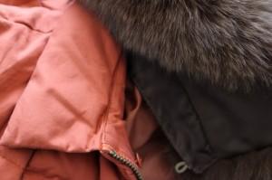 ニジュウサンク 23区 ダウンジャケット サイズ40 M レディース レッド×ブラウン ファー.フード取り外し可/冬物【中古】