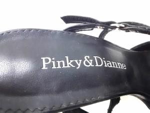ピンキー&ダイアン Pinky&Dianne サンダル 34 1/2 レディース 黒 スタッズ レザー×ハラコ【中古】