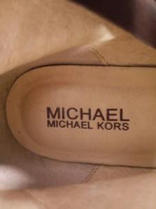 マイケルコース MICHAEL KORS ロングブーツ 7 1/2M レディース ダークブラウン レザー×化学繊維【中古】