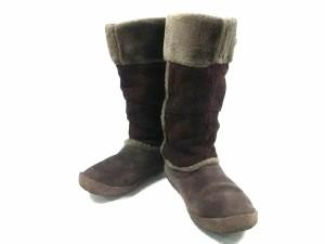 ハリスツイード Harris Tweed ショートブーツ 23cm レディース ダークブラウン×ボルドー×マルチ ウール【中古】