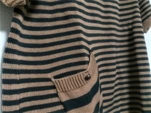 ジェイ&エムデヴィッドソン J&MDavidson 半袖セーター レディース 美品 ライトブラウン×黒 ボーダー【中古】