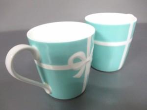 ティファニー TIFFANY&Co. マグカップ レディース 新品同様 ブルーボウ ブルー×白 マグカップ×2 陶器【中古】