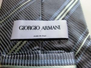 ジョルジオアルマーニ ネクタイ メンズ 美品 ダークグレー×ライトブルー×ライトグリーン レジメンタルストライプ【中古】