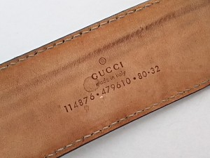 グッチ GUCCI ベルト 80・32 レディース シマライン/ダブルG 114876 ライトゴールド レザー×金属素材【中古】