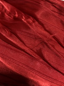 トルネードマート 七分袖シャツブラウス サイズM レディース 美品 レッド×シルバー×ボルドー フラワー刺繍/ラメ【中古】