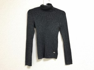 バーバリーブルーレーベル Burberry Blue Label 長袖セーター サイズ38 M レディース 美品 黒×シルバー タートルネック【中古】