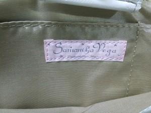サマンサベガ Samantha Vega トートバッグ レディース ベージュ×白 ストライプ/ラメ コットン×合皮【中古】