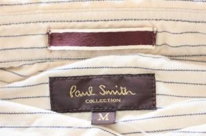 ポールスミス PaulSmith 長袖シャツ サイズM メンズ ベージュ×黒×白 ストライプ/COLLECTION【中古】