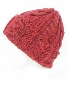 ハイランド 2000 HIGHLAND 2000 ニット帽 レディース 美品 レッド×マルチ ケーブル編み ウール【中古】