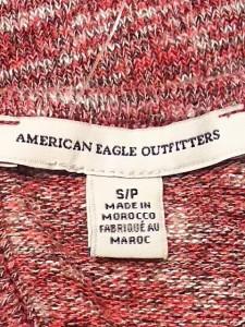 アメリカンイーグル American Eagle ワンピース サイズS レディース 美品 レッド×白×グレー ニット【中古】