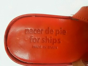ナセールデピエ nacer de pie サンダル 37 レディース レッド for ships/ウェッジソール レザー【中古】
