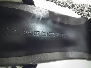 グレースコンチネンタル GRACE CONTINENTAL パンプス 37 レディース 黒 ラインストーン サテン【中古】