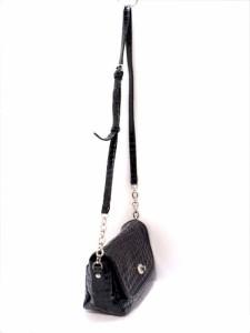 コッコフィオーレ COCCO FIORE ショルダーバッグ レディース 黒 型押し加工 エナメル(レザー)【中古】