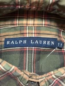 ラルフローレン RalphLauren 長袖シャツブラウス サイズ11 M レディース カーキ×ライトブラウン×マルチ チェック柄【中古】