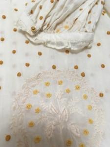 シェリーラファム Cherir La Femme ワンピース サイズM レディース 白×ブラウン ドット柄/フリル/ファー【中古】