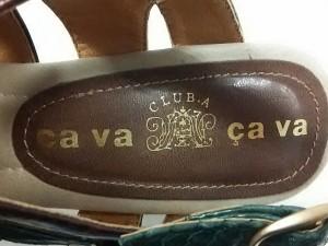 サヴァサヴァ cava cava サンダル 23.5 レディース ダークブラウン×グリーン オープントゥ/型押し加工 レザー【中古】