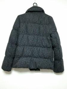 セオリー theory ダウンジャケット サイズS レディース ダークグレー×白 ストライプ/冬物【中古】