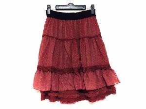 アクシーズファム axes femme スカート サイズM レディース 美品 レッド×シルバー×黒 ドット柄/ラメ/ウエストゴム【中古】