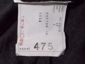 サカイ Sacai 半袖カットソー サイズ2 M レディース 美品 ダークグレー×黒 ダメージ加工/シースルー【中古】