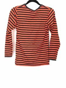 マリメッコ marimekko 長袖Tシャツ サイズXS レディース 黒×オレンジ ボーダー【中古】