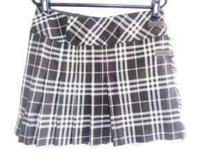 バーバリーブルーレーベル 巻きスカート サイズ38 M レディース ダークブラウン×ピンク×ベージュ チェック柄/プリーツ【中古】