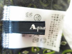 アクアスキュータム Aquascutum 長袖カットソー サイズ10 L レディース 美品 カーキ×ダークグレー×ベージュ ハイネック【中古】