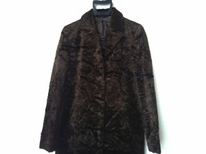 ジェイアンドアール J&R コート サイズ38 M レディース 美品 ダークブラウン ベロア/肩パッド/冬物【中古】