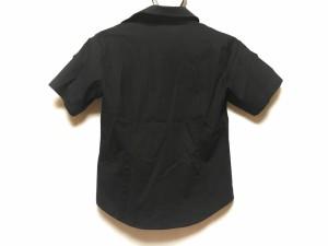 ダックス DAKS 半袖シャツブラウス サイズ42 XL レディース 美品 黒 E1【中古】
