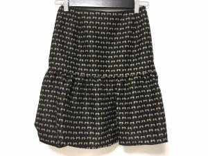 エムズグレイシー M'S GRACY スカート サイズ38 M レディース 美品 黒×ダークブラウン リボン柄【中古】