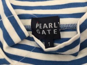 パーリーゲイツ PEARLY GATES ノースリーブカットソー サイズ1 S レディース 白×ブルー ハイネック/ボーダー【中古】