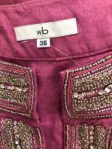 ダブリュービー wb チュニック サイズ36 S レディース 美品 ピンク×マルチ ビーズ/ラインストーン/ビジュー【中古】